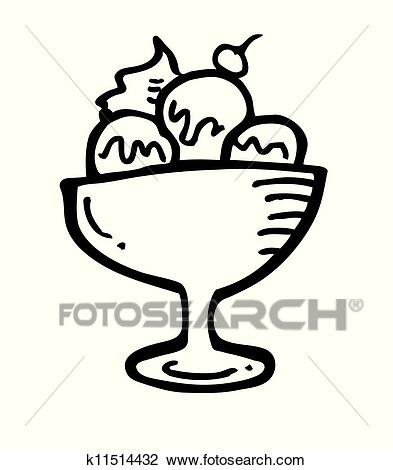 A bowl of ice cream Clipart.