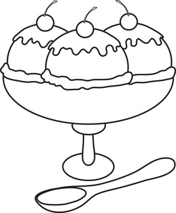 Ice Cream Bowl Clipart Black And White.