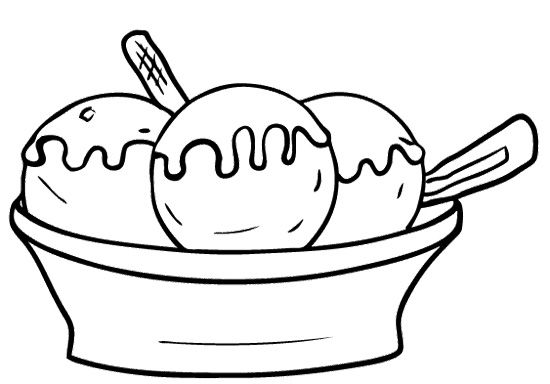 Ice cream black and white ,ice cream sundae bowl clipart.