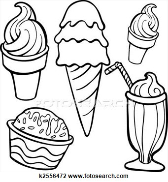 Ice cream black and white photos of ice cream cup drawing.