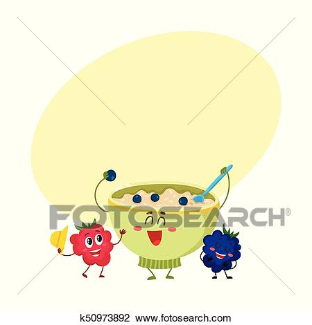 Funny smiling oatmeal porridge bowl and raspberry, blackberry berry  characters Clipart.