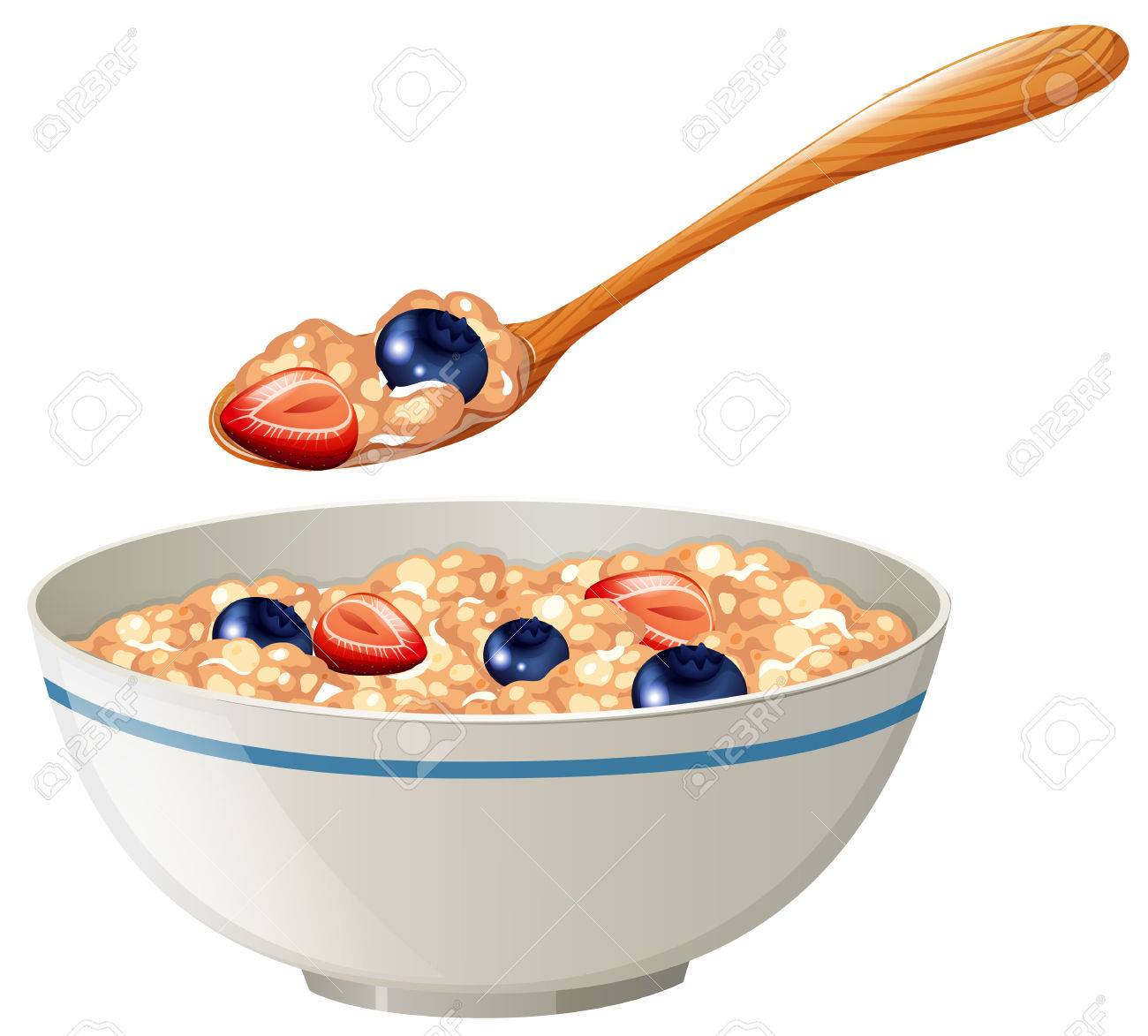Oatmeal with berries in the bowl illustration.