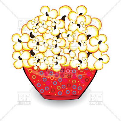 Popcorn in red bowl Vector Image.