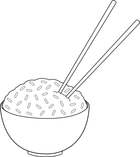Chopsticks and rice clipart.