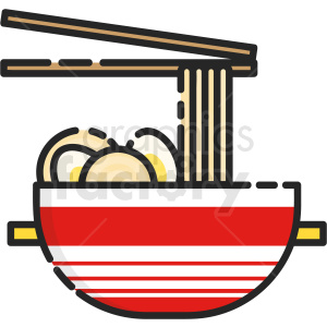 noodle bowl vector clipart icon . Royalty.
