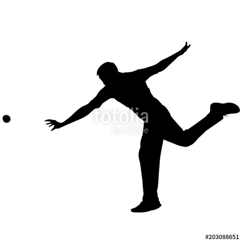 Cricket Sports silhouette, Cricket Player clipart, Cricket Bowler.
