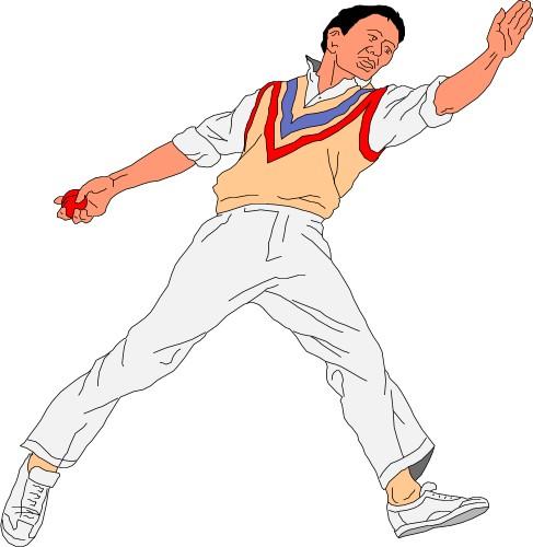 Cricket bowler clipart.