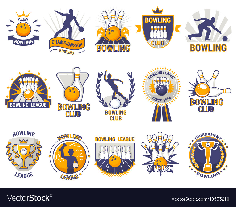 Bowling logo bowler sport game with alley.
