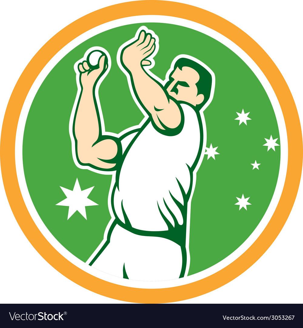 Australian Cricket Fast Bowler Bowling Ball Circle.