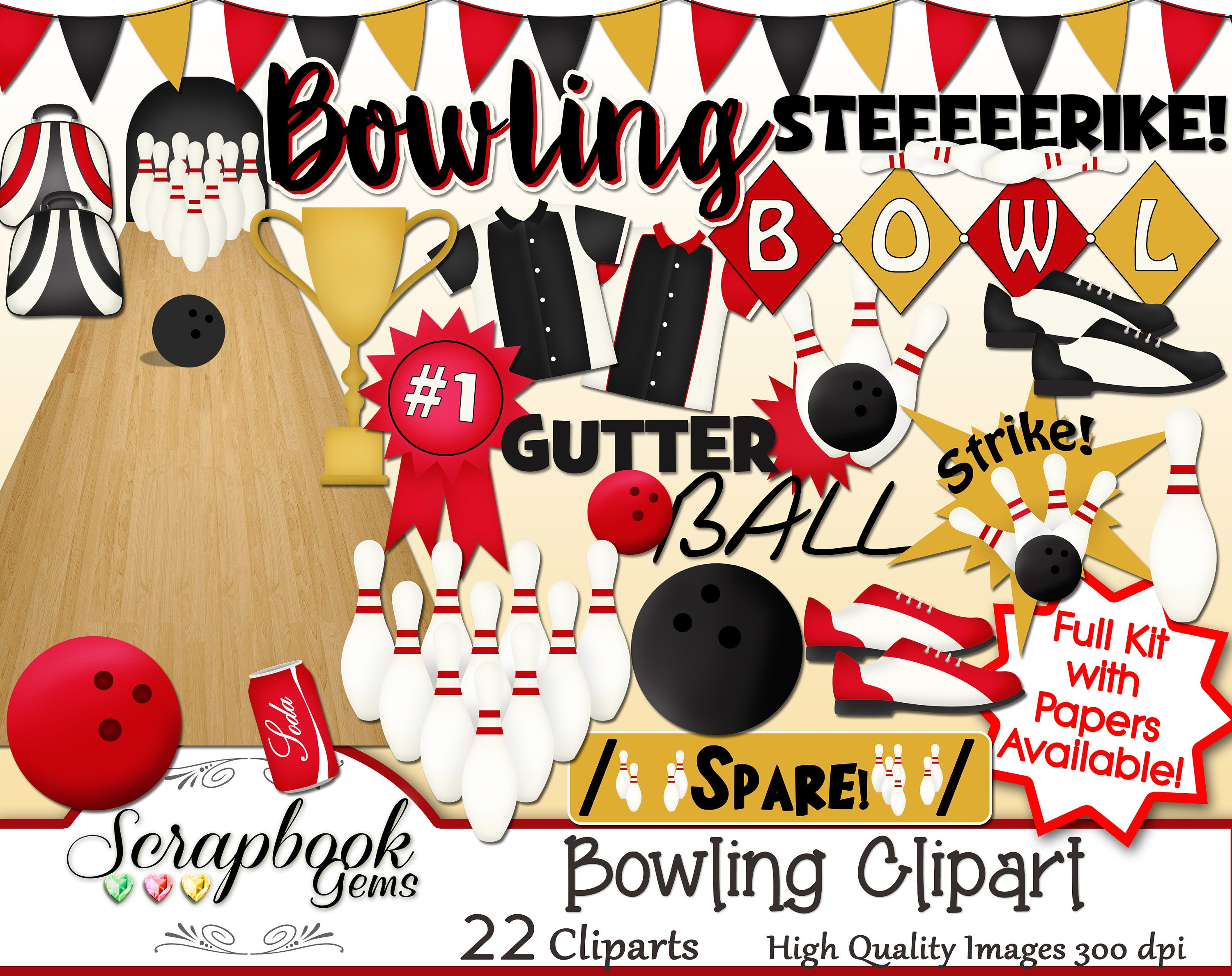 BOWLING Clipart, 22 png Clipart files Instant Download bowling ball bowling  alley bowling lanes soda strike spare butter flag banner pins.