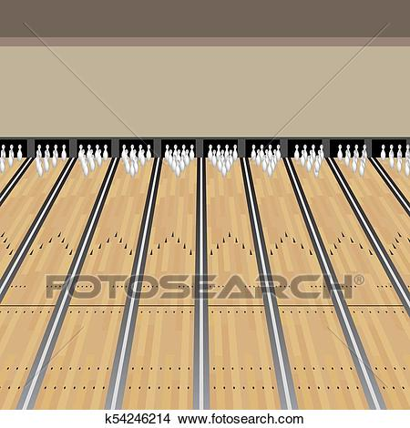 Bowling Alley Lane Pins Game Clipart.