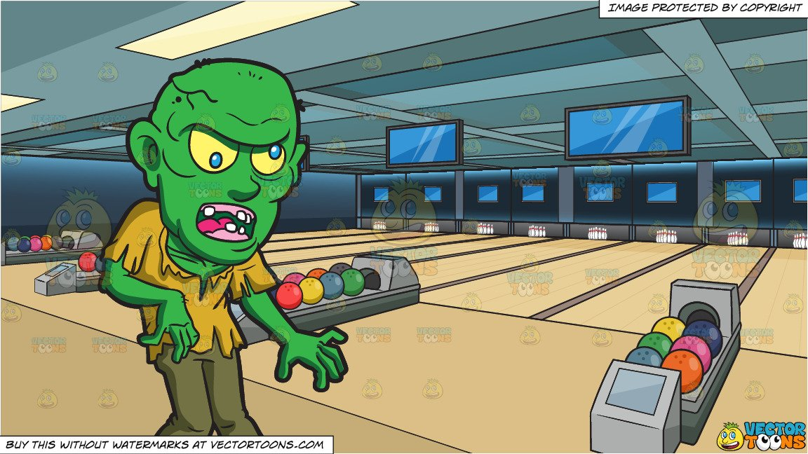 A Bald Green Zombie and Bowling Alley Background.