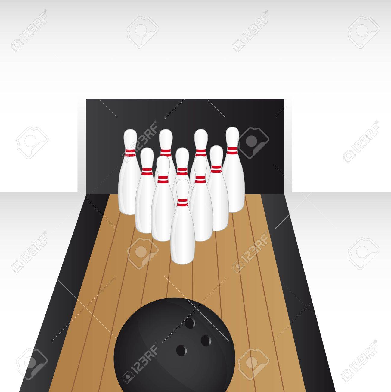 bowling alley with bowling ball vector illustration.