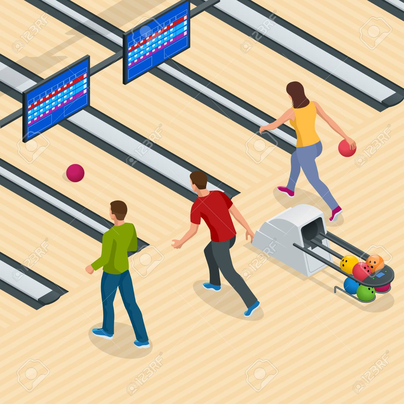 Isometric Bowling Center Interior with Game Equipment. Vector...