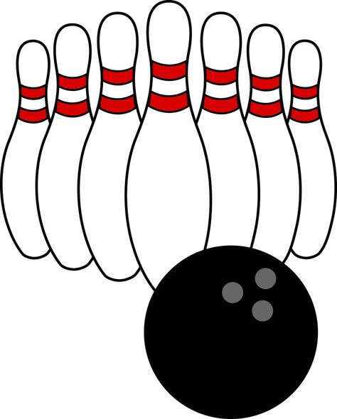 Bowling on clip art bowling pins and bowling ball.