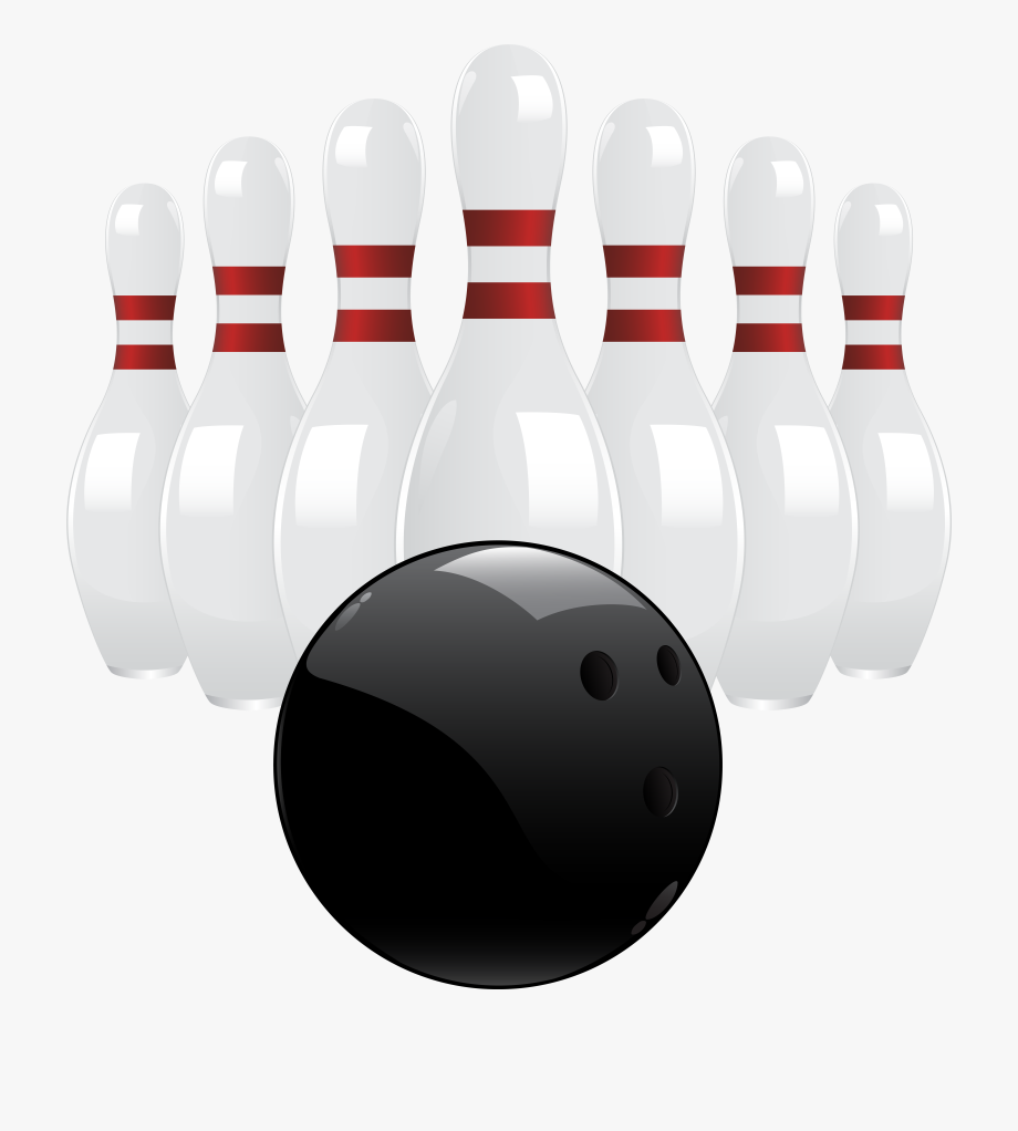Black Bowling Ball And Pins Png Clip Art , Transparent.