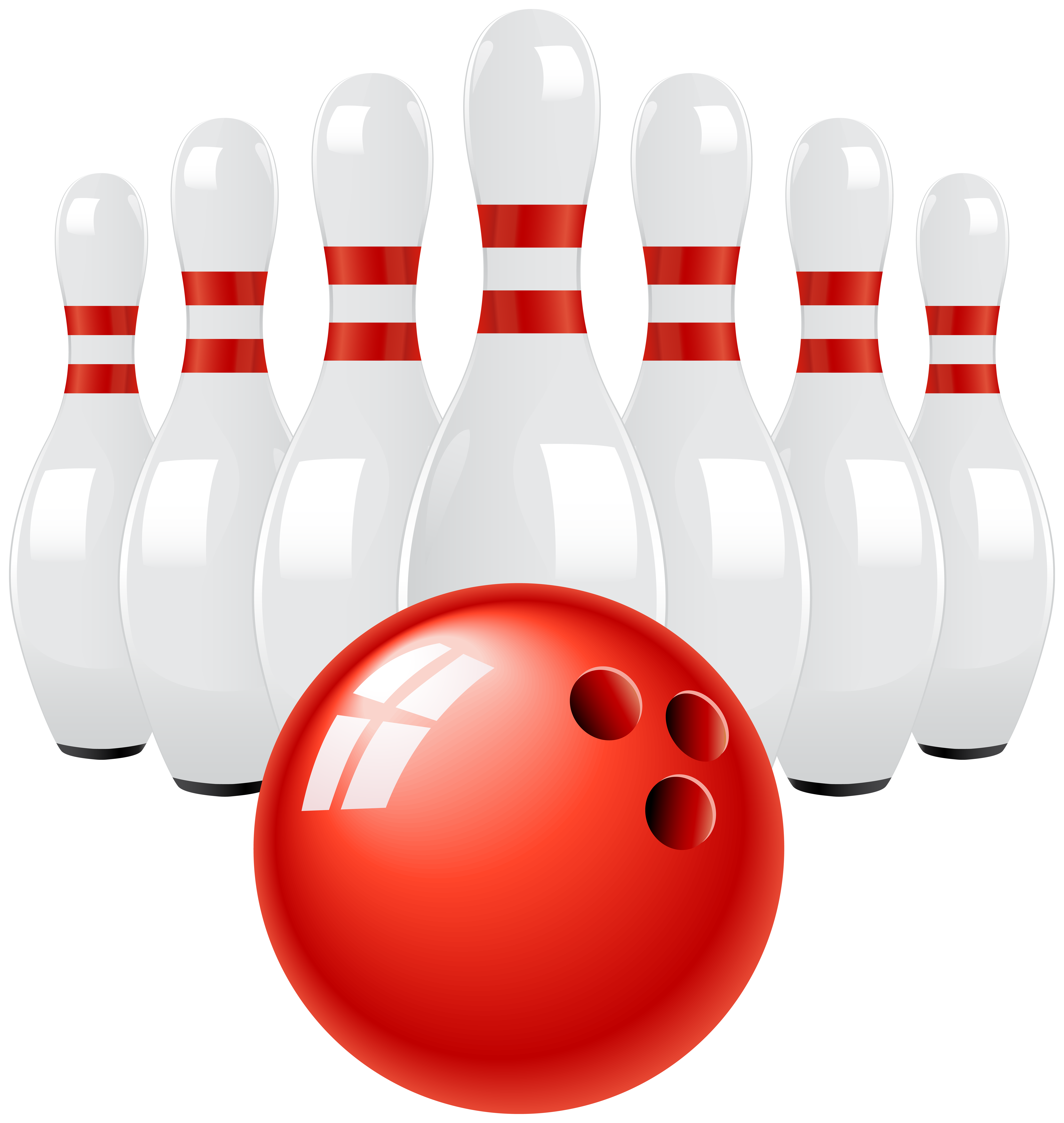 Red Bowling Ball and Pins PNG Clip Art.