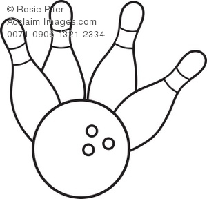 Clip Art Illustration Of A Bowling Ball Crashing Into Pins.