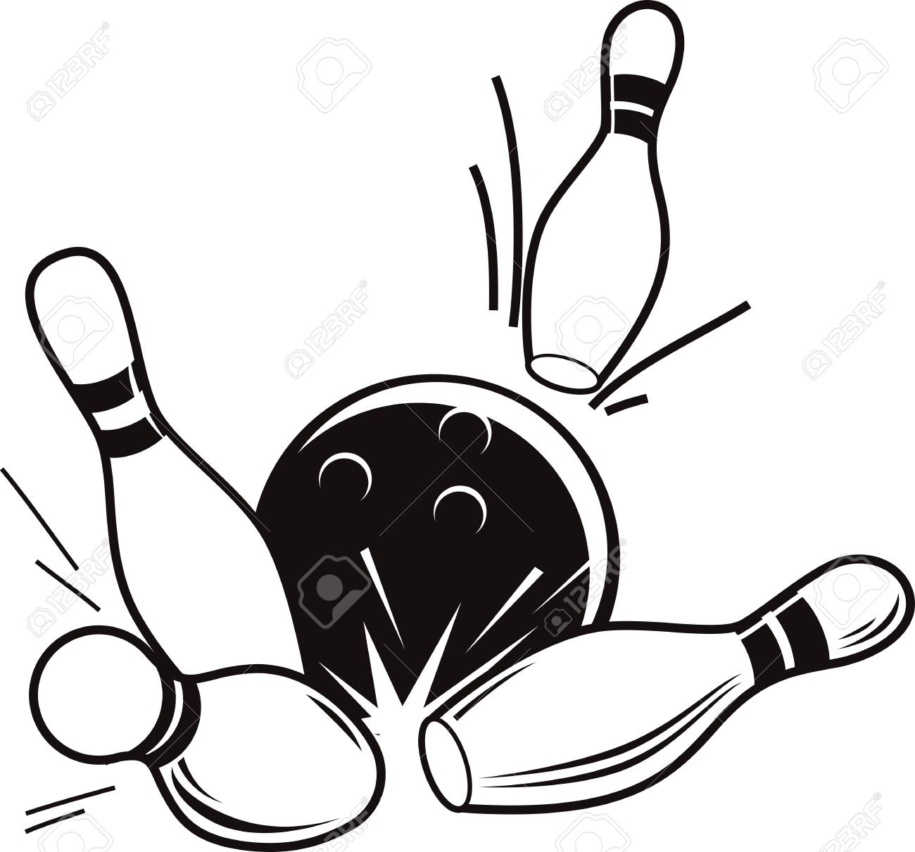 Vector black and white illustration of bowling. Bowling ball...