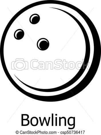 Bowling ball icon, simple black style.
