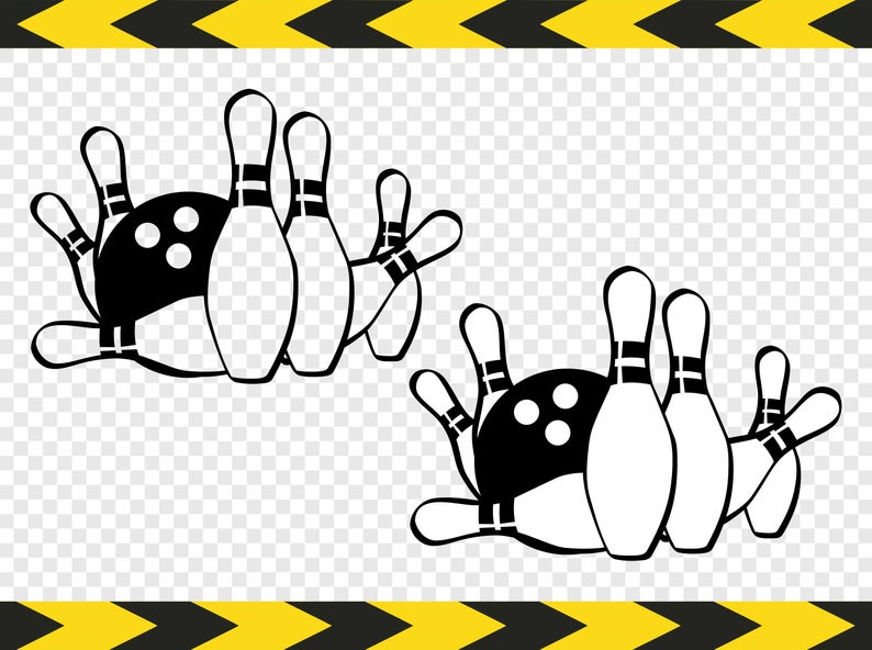 Bowling ball and pin SVG Clipart Clip art DIY Shirt Cricut Silhouette cut  files Dxf Pdf Png.