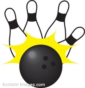 Clip Art Picture of a Bowling Ball With Pins.