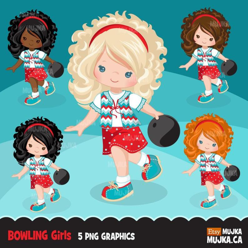 Bowling Clipart. Bowling party graphics, summer, party printables, bowling  birthday clip art, planner sticker, retro king pin girls.