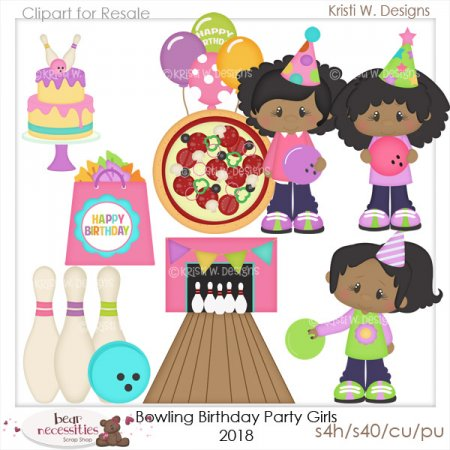 Bowling Birthday Girls Dark Skin PNG 2018.