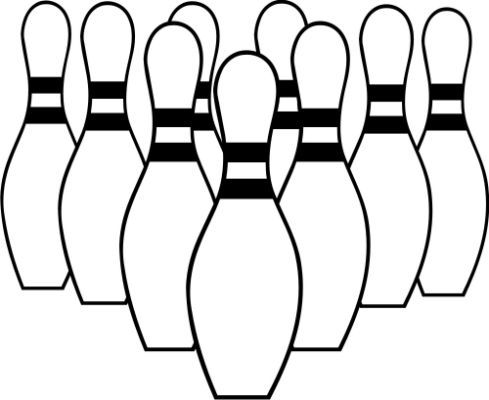 Bowling Black And White Clipart.