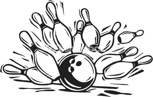 bowling clipart black and white.