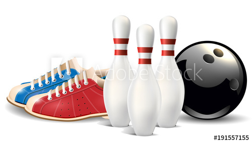 Bowling objects. Vector clip art illustration..