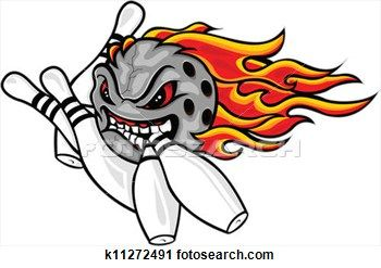 Flaming Bowling Ball Clip Art.