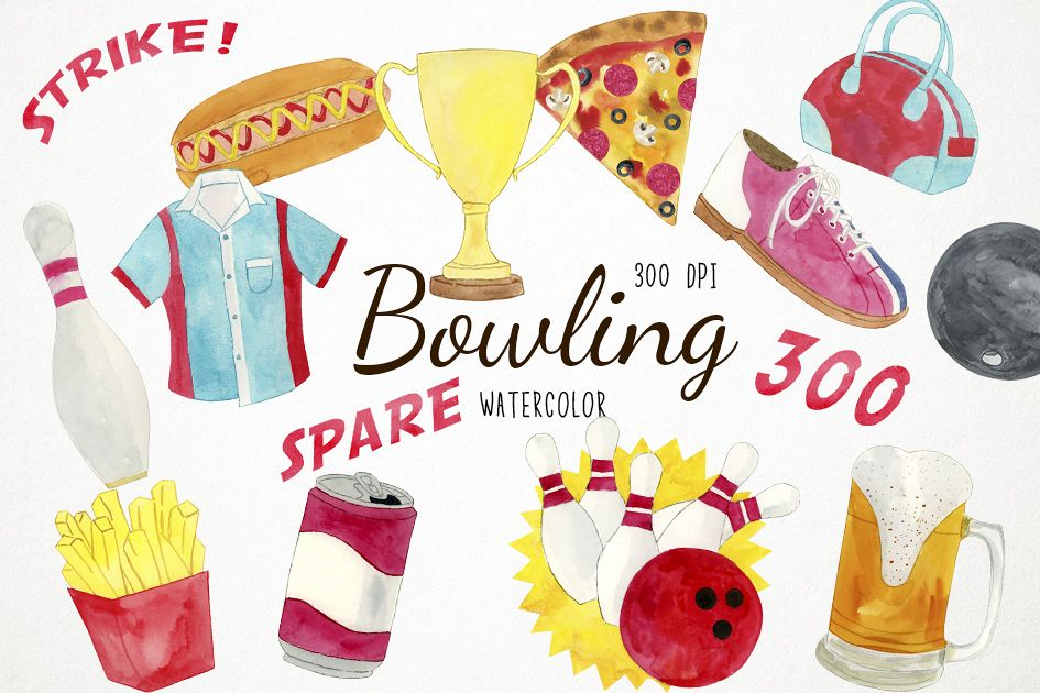 Watercolor Bowling Clipart, Pins Clipart, Sports Clipart.