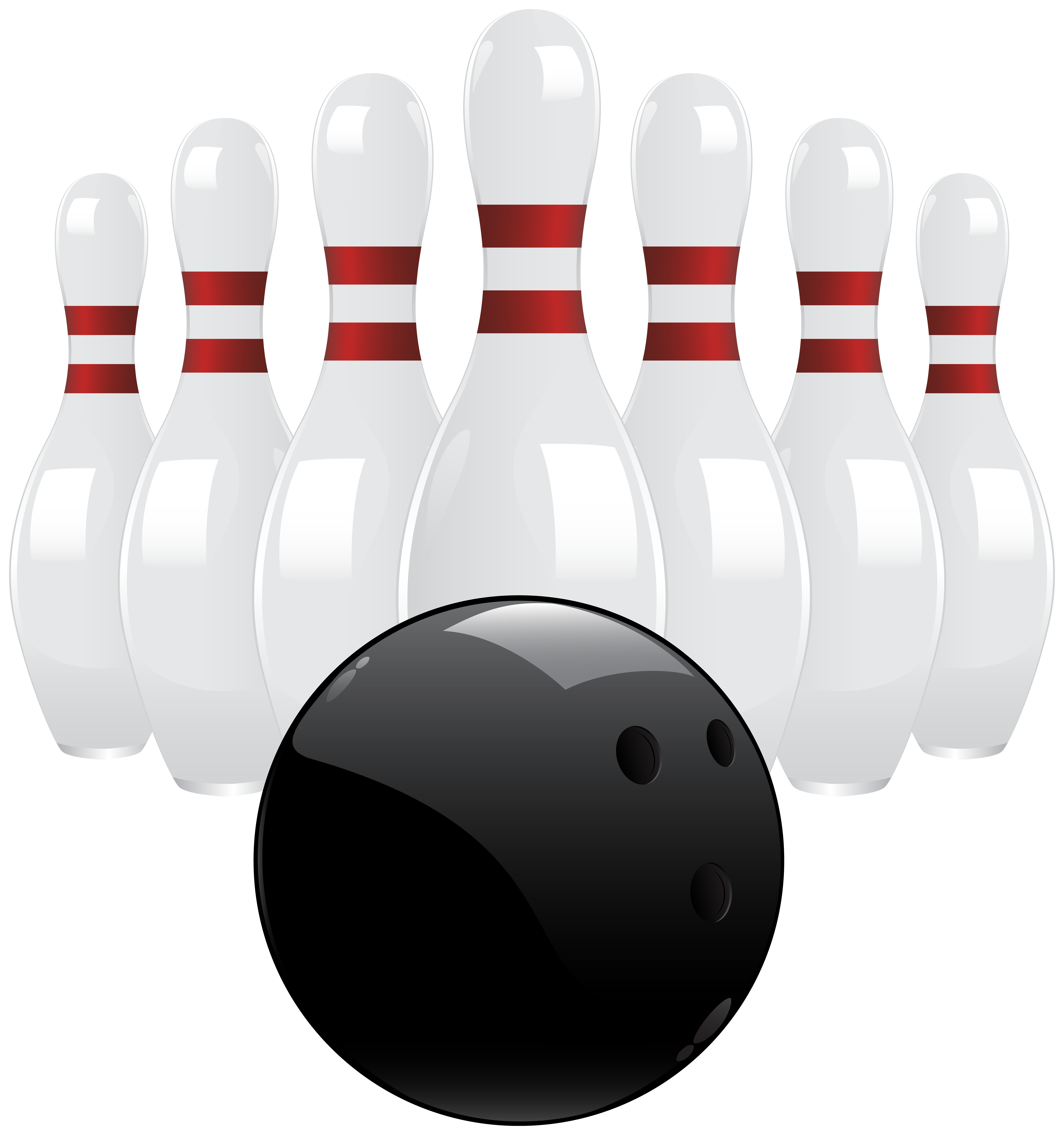 Black Bowling Ball and Pins PNG Clip Art.