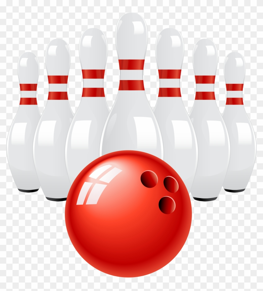 Red Bowling Ball And Pins Png Clip Art, Transparent Png.