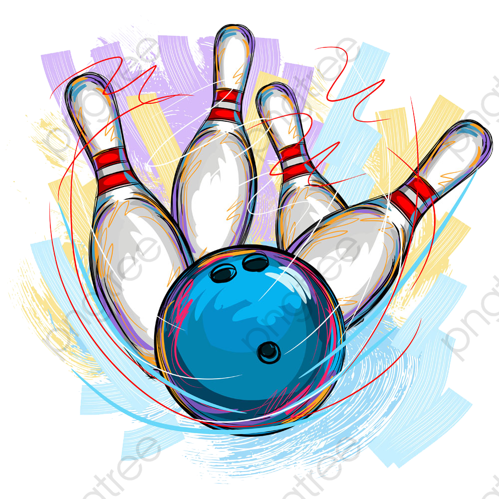 Bowling Material Picture Painted, Bowling Clipart, Hand Painted.