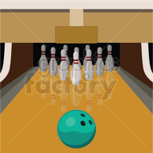 bowling lane vector clipart on square background . Royalty.