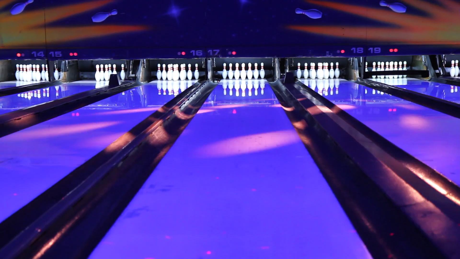 Bowling Lane Wide Angle Stock Video Footage.