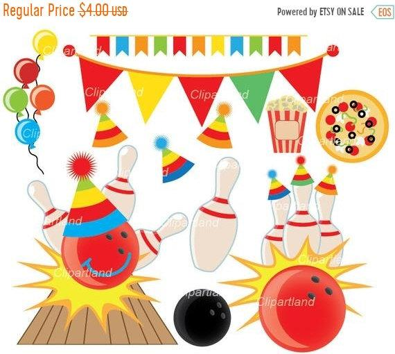 ON SALE INSTANT Download. Bowling party clip art. Cb_3_bowling party.  Personal and commercial use..