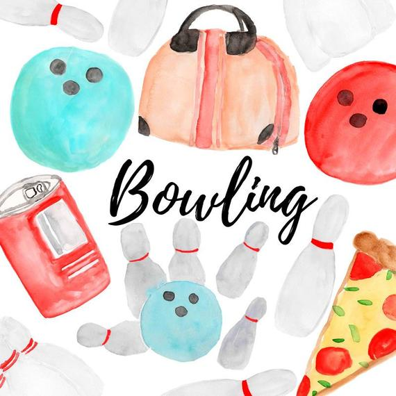 Bowling clipart watercolor clipart sports pins bowling party digital  sticker Commercial Use.
