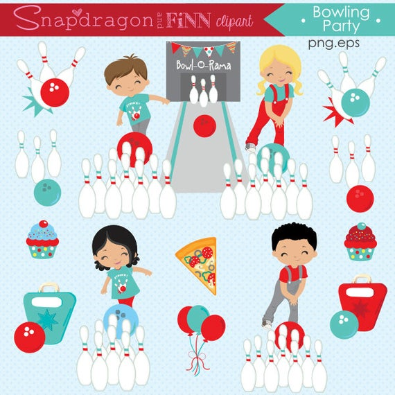 BUY5GET5 Bowling Party clipart, Bowling clipart, Bowling kids clip art,  Bowling Papers, Bowling Pins, Red & Blue,.