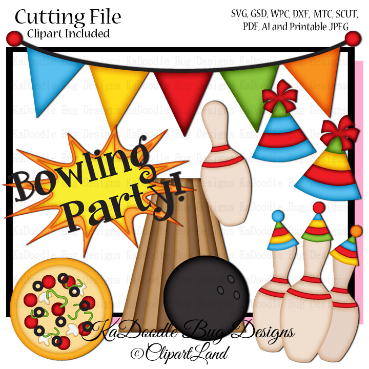 Bowling Party SVG CUT FILE PAPERPIECING SCRAPBOOKING DIGITAL STAMPS.