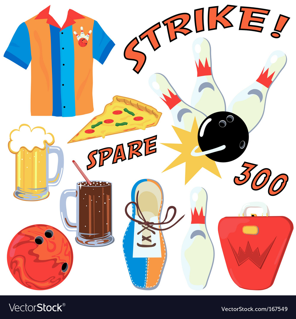Bowling party clip art icons.