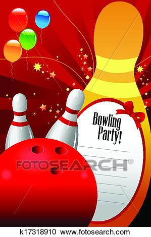 Bowling party invitation template Clipart.