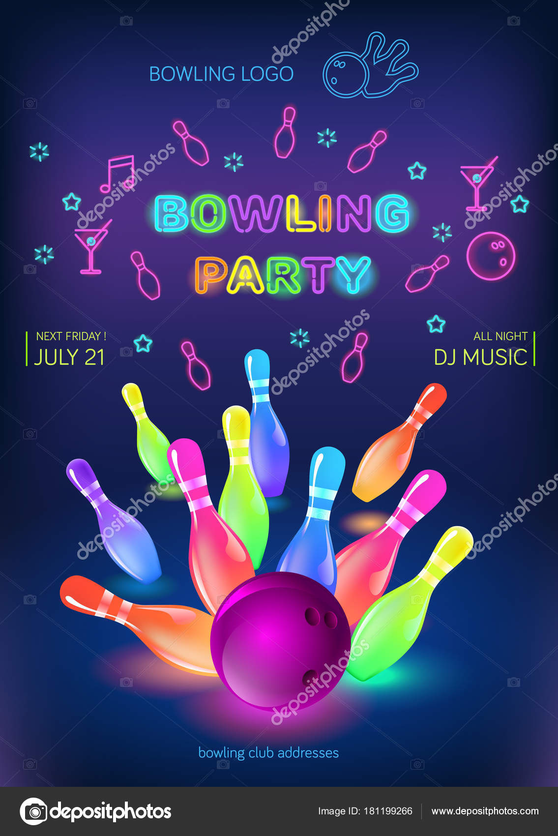 Bowling Party Template Format Size Vector Clip Art Illustration.