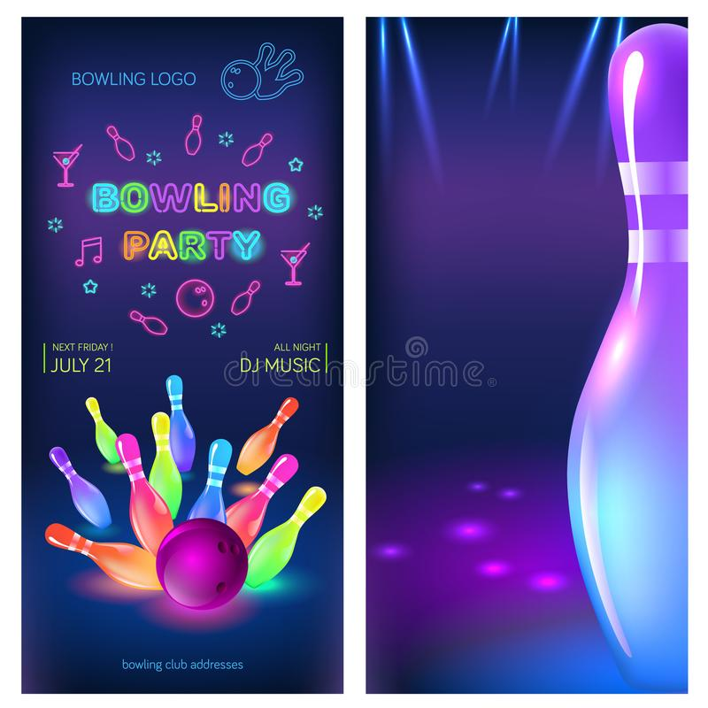 Bowling Party Template. A6 Format Size. Vector Clip Art Illustration.