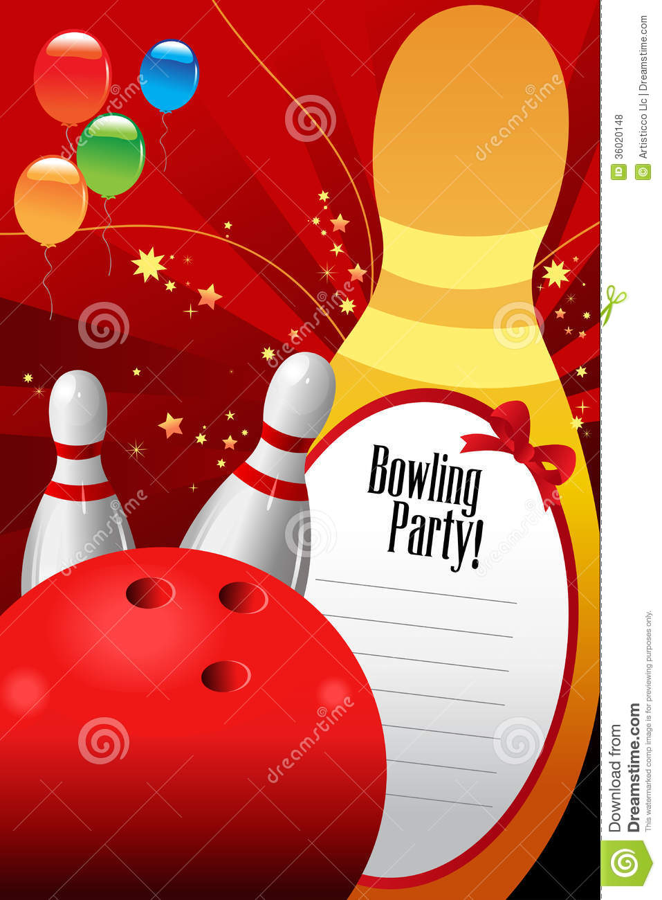 Bowling Party Invitation Template Stock Vector.