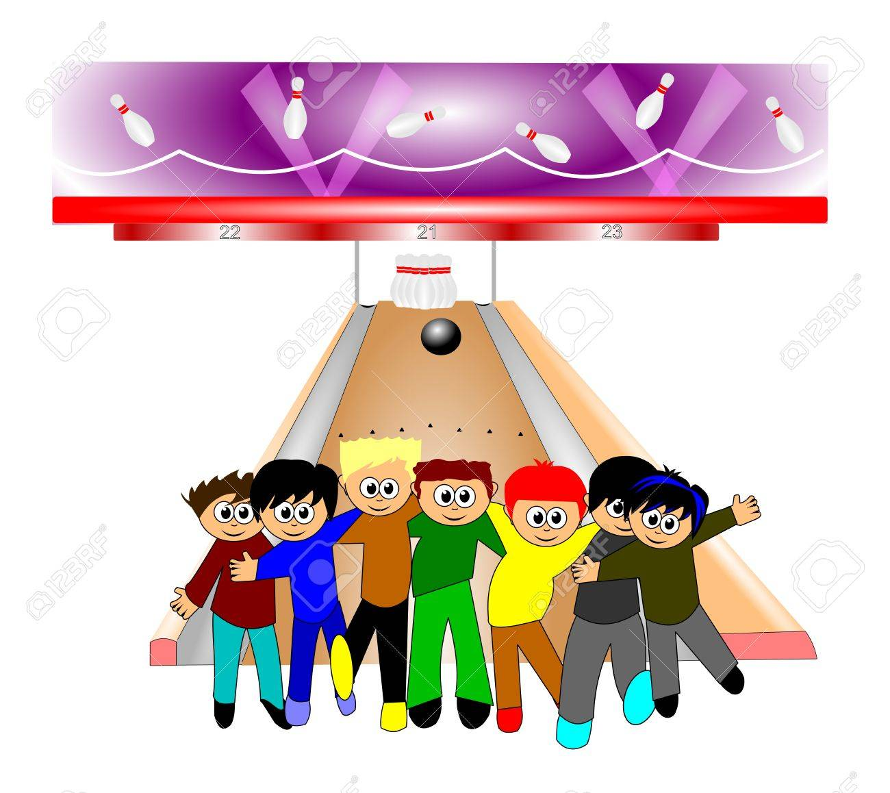 kids in bowling alley.