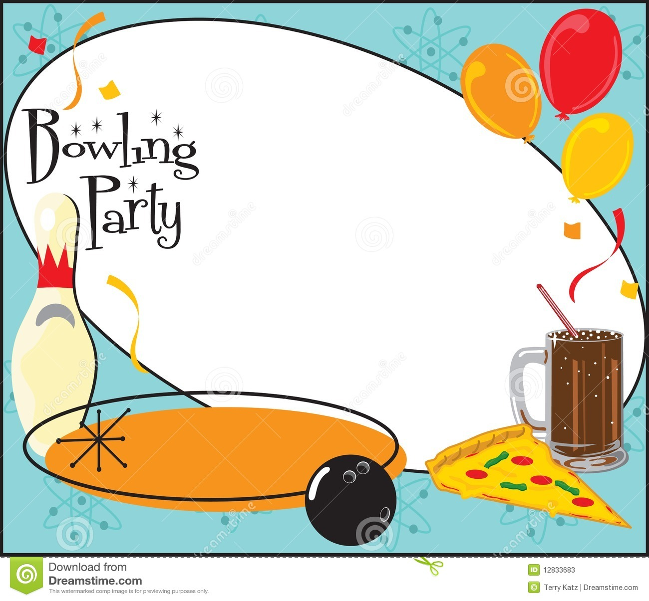 Bowling Birthday Party Invitation Stock Vector.