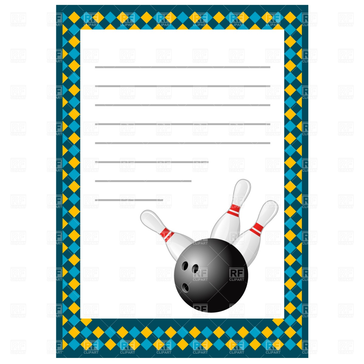 Bowling invitation blank template Stock Vector Image.